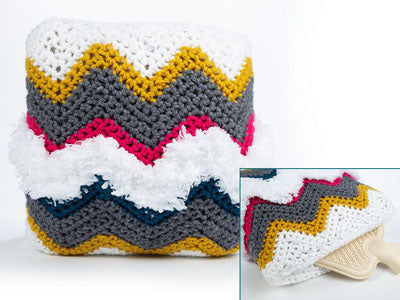 Chevron Hot Water Bottle Cushion by Zoë Potrac in King Cole Big Value Super Chunky & Tufty