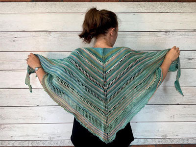 FREE Triangular Pool Shawl in Stylecraft Head Over Heels All Stars Pattern