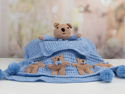Newborn Baby Boy Teddy Set in Deramores Studio Baby Soft DK