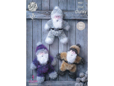 Tinsel Santas in King Cole Tinsel Chunky