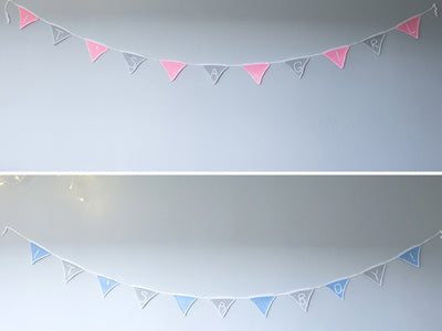 'It's A Girl/Boy' Bunting by Zoë Potrac in Deramores Studio Baby Soft DK