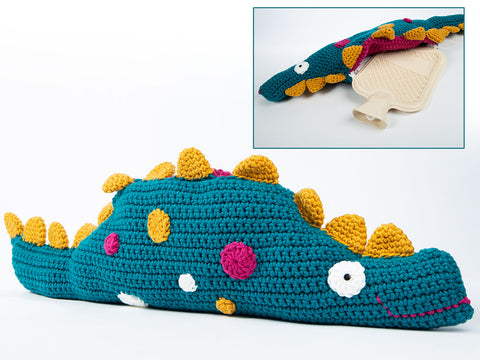 Dino Hot Water Bottle Cushion Crochet Kit and Pattern
