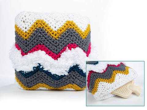 Chevron Hot Water Bottle Cushion Crochet Kit and Pattern in King Cole Yarn