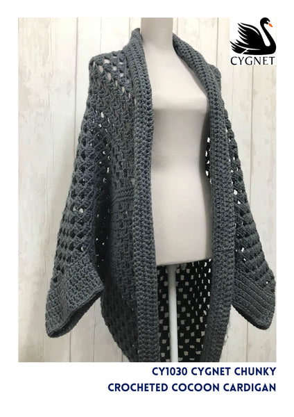 Crocheted Cocoon Cardigan In Cygnet Chunky Yarn And