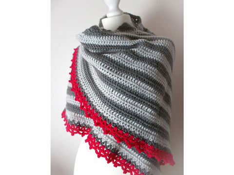 Raspberry February Shawl by Leonie Morgan in Deramores Studio DK