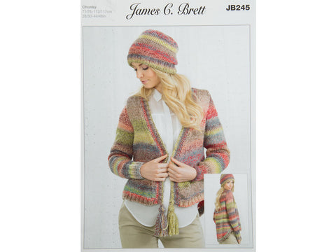 Cardigan & Hat in James C. Brett Marble Chunky (JB245)