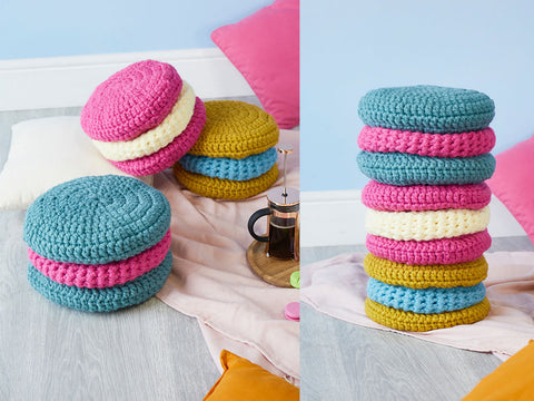 Crochet Now Macaron Cushions in Cygnet Yarns Seriously Chunky