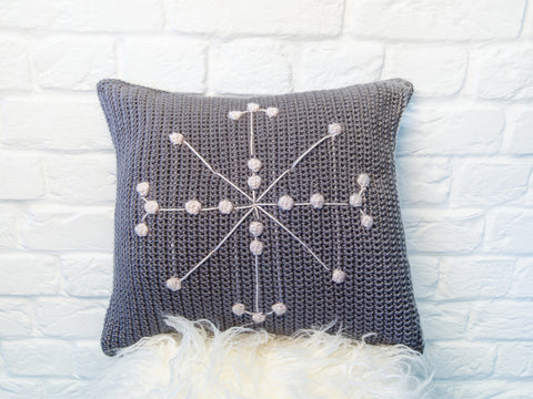 Snowflake Bobble Cushion Crochet Kit and Pattern in Deramores Yarn