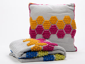 Disco Honeycomb Blanket & Cushion Set Crochet Kit and Pattern