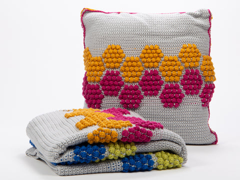 Disco Honeycomb Blanket & Cushion Set by Zoë Potrac in Deramores Studio DK