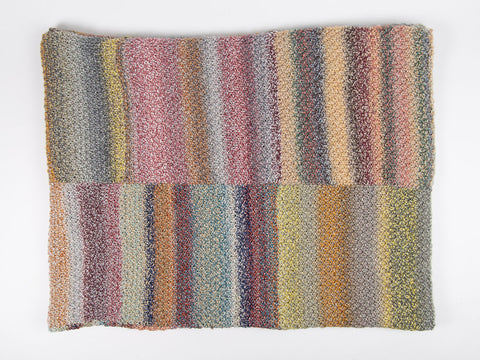 Patchwork Blanket and Cushion by Jenny Watson in James C. Brett Marble Chunky (5065)