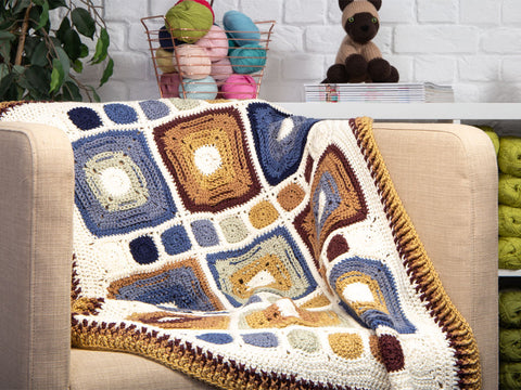 Rustic Rounds Blanket by HanJan Crochet in Deramores Studio DK