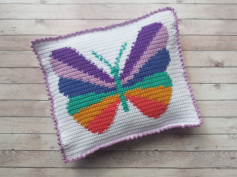 Butterfly 2 in 1 Pyjama Case & Cushion by Kelly Groves in Stylecraft Bellissima DK