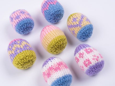 Hanging Easter Eggs Knitting Kit and Pattern in Deramores Yarn