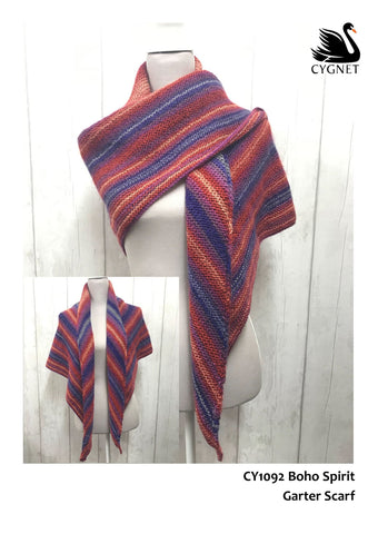 Garter Scarf in Cygnet Yarns Boho Spirit - Yarn and Pattern