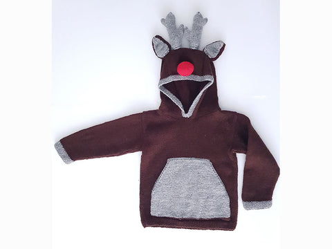 Reindeer Hoodie by Jane Burns in Deramores Studio DK