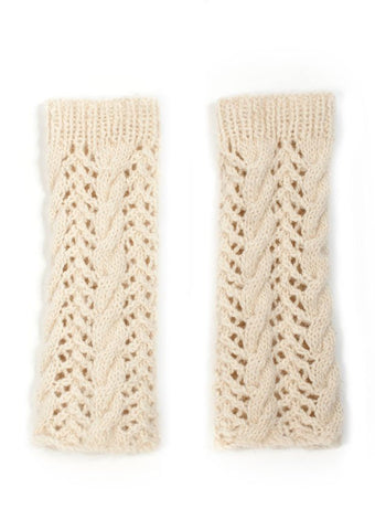 Cable Lace Wristwarmers in TOFT DK - Digital Version-Deramores