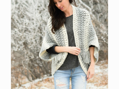 Light Frost Easy Blanket Sweater Crochet Kit and Pattern in Lion Brand Yarn