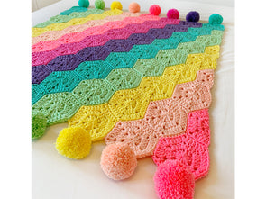 Rainbows Rule Blanket by Kate Rowell in Scheepjes Chunky Monkey