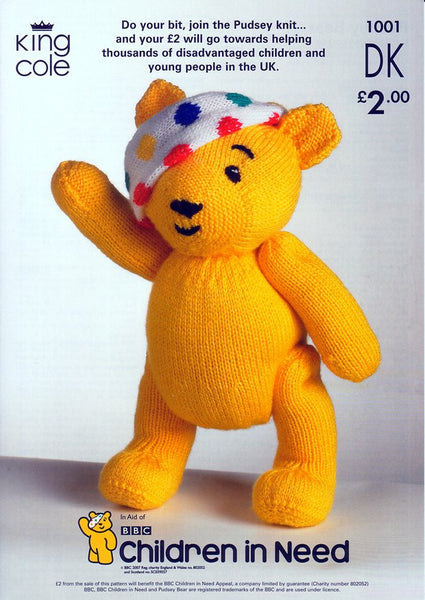 Children in Need Pudsey Bear Knitted in King Cole DK (1001)-Deramores