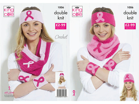 Pink Ribbon Headbands, Wristbands & Cowl  in King Cole Big Value DK and Cottonsoft DK (1006K)
