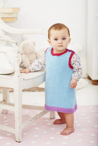 Dress and Pinafore in Deramores Baby DK (1020) - Digital Version-Deramores