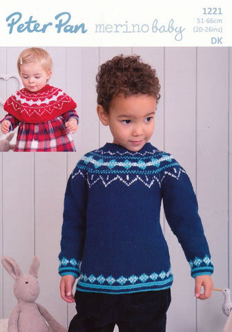 Fairisle Shoulder Warmer and Sweater in Peter Pan Merino Baby DK (P1221)-Deramores