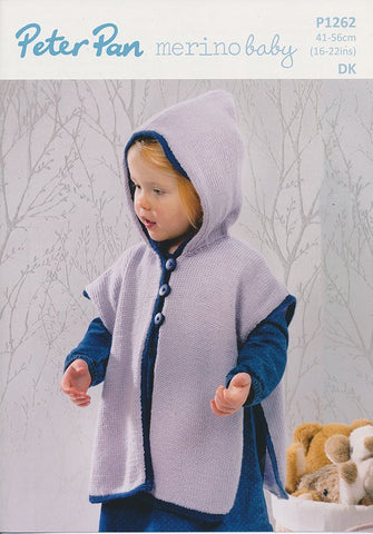 Hooded Tabard in Peter Pan Merino Baby DK (P1262)-Deramores
