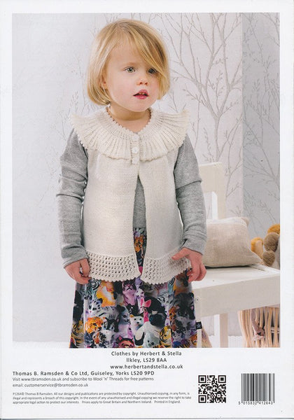 Angel Cardigan Long Sleeved or Sleeveless in Peter Pan Merino Baby 4 Ply (P1264)