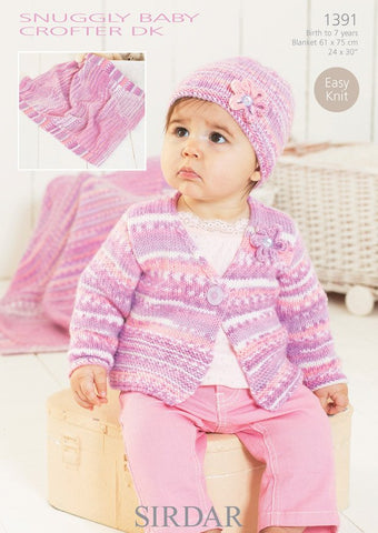 Cardigan, Hat and Blanket in Sirdar Snuggly Baby Crofter DK (1391)-Deramores