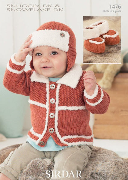 Boy's Cardigan, Helmet and Bootees In Sirdar Snuggly DK and Snuggle Snowflake DK (1476)-Deramores
