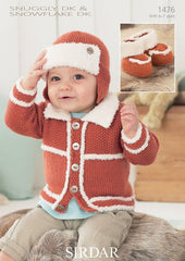 Boy's Cardigan, Helmet and Bootees In Sirdar Snuggly DK and Snuggle Snowflake DK (1476)