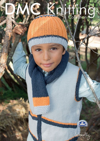 Boy's Tank Top, Hat and Scarf in DMC Woolly (15294L/2)-Deramores