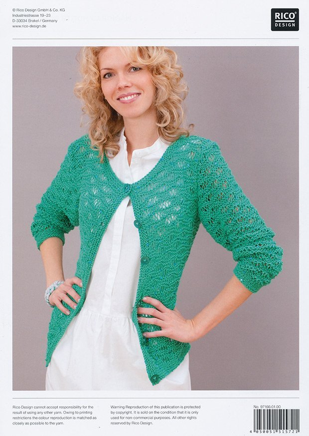 Wavy Drop Stitch Cardigan in Rico Fashion Romeo and Julia Aran (166)