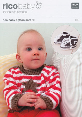 Striped Jumper with Embroidered Star in Rico Baby Cotton Soft DK (169)