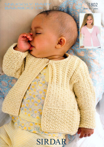 Cardigans in Sirdar Snuggly Baby Bamboo DK (1802)-Deramores