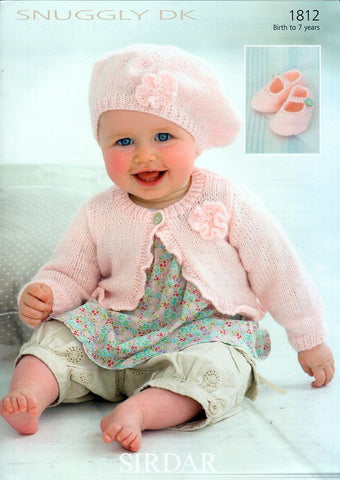 Cardi, Beret & Shoes in Sirdar Snuggly DK (1812)-Deramores