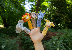 Safari Animal Finger Puppets Crochet Kit and Pattern in Deramores Yarn