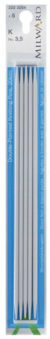Milward Double Point Knitting Needles (Aluminium) - 20cm (set of 5)