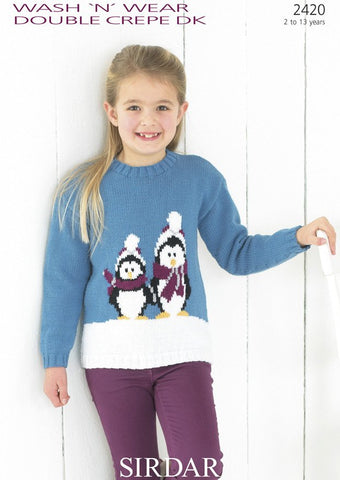 Girl's Round Neck Sweater with Penguin Motif in Sirdar Wash 'n' Wear Double Crepe DK (2420)-Deramores