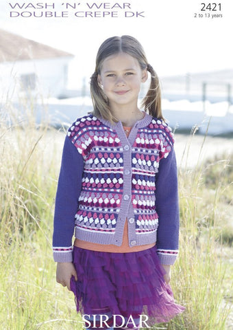 Girl's Multi Coloured Round Neck Cardigan in Sirdar Wash n Wear Double Crepe DK (2421)-Deramores