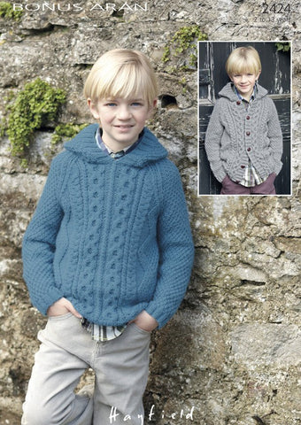 Boys hooded Raglan Sweater and Cardigan in Hayfield Bonus Aran (2424)-Deramores