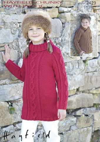 Girls Polo-Neck Sweater Dress and Boys Wrap-Neck Cable Sweater in Hayfield Chunky With Wool (2429)-Deramores