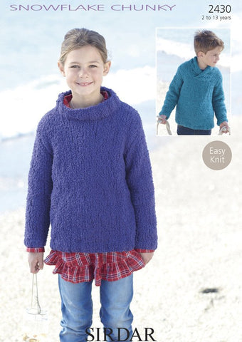 Boys & Girls Wrap Neck Sweater in Sirdar Snowflake Chunky (2430)-Deramores