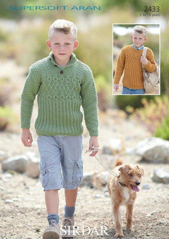 Boy's Round Neck and S.U.N Sweaters in Sirdar Supersoft Aran (2433)-Deramores