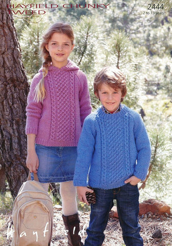 Children Round Neck and Hooded Sweaters in Hayfield Chunky Tweed (2444)-Deramores
