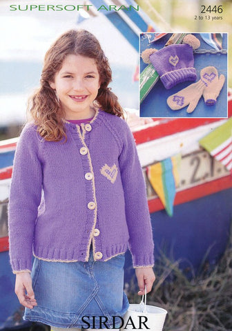 Girls Round Neck Cragigan with Heart Motif, Mittens and Hat in Sirdar Supersoft Aran (2446)-Deramores