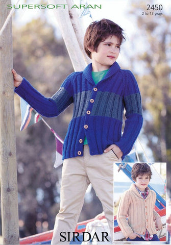 Boys Striped and One Colour Jackets in Sirdar Supersoft Aran (2450)-Deramores