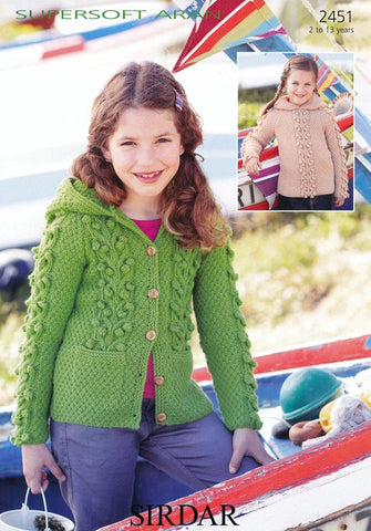 Girls Hooded Sweater and Jacket in Sirdar Supersoft Aran (2451)-Deramores