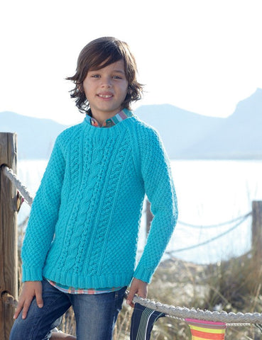 Boys Cable Sweaters in Sirdar Supersoft Aran (2454)-Deramores
